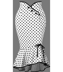 polka dot flounced fishtail skirt
