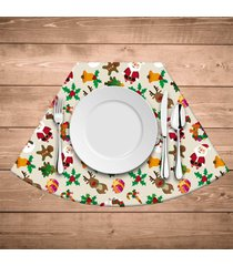 jogo americano para mesa redonda wevans elementos natalinos minimalista kit com 6 pçs