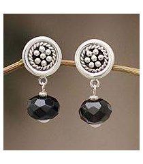 obsidian dangle earrings, 'obsidian dewdrops' (peru)