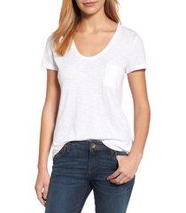 women's caslon rounded v-neck tee, size xx-large - white