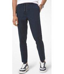 mk pantalone oxford in chambray stretch - notte (blu) - michael kors