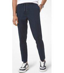 mk pantalone oxford in chambray stretch - notte (blu) - michael kors