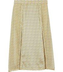 burberry monogram print silk pleated skirt - yellow
