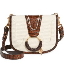 see by chloe hana canvas & leather shoulder bag in cement beige at nordstrom