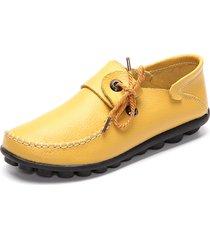 donna scarpe basse loafers casual in pelle con lacci a grande taglia