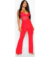 lace 2 in 1 jumpsuit, red