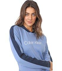 moletom fechado calvin klein underwear logo azul - azul - feminino - algodã£o - dafiti