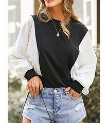 camicetta casual da donna a maniche lunghe con scollo a o patchwork