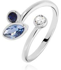 anello in metallo rodiato e pietre colore blu per donna