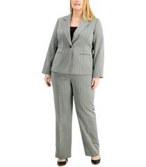 le suit plus size herringbone one-button pantsuit
