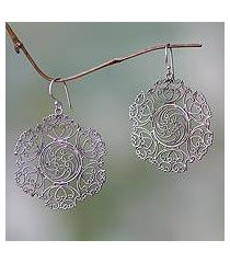sterling silver dangle earrings, 'legian lace' (indonesia)