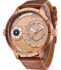 gli orologi di lusso del fuso orario di due uomini dell'orologio di quarzo del cinturino di cuoio del quadrante del calendario unico unico grande del regalo