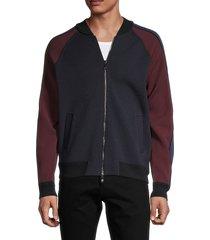 valentino garavani men's colorblock zip-up sweatshirt - navy - size l