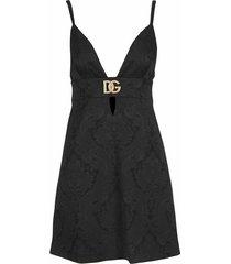 short ornamental jacquard dress with crystal dg embellishment