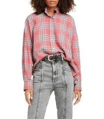 women's isabel marant etoile ilaria ruffle neck plaid shirt
