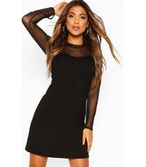 mesh top 2 in 1 slip dress, black
