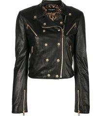 dolce & gabbana zipper trimmed biker jacket - black