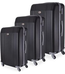 conjunto de mala de viagem em abs ika continental cadeado rodas giro 360º 3 peças p/m/g preta
