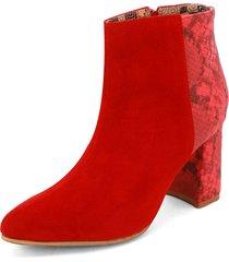 botín ante rojo por pitón rojo heels:d