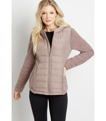 maurices womens solid quilted front sherpa sleeve hooded jacket purple