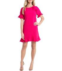 women's cece ruffled crepe shift dress, size 10 - pink