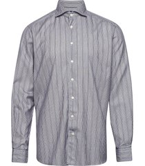 soft indigo striped cotton-tencel shirt overhemd casual blauw eton