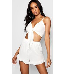 tall tie front top & shorts co-ord, white