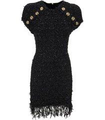 short black tweed dress with fringe