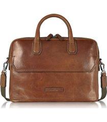 the bridge designer briefcases, williamsburg dark brown double handle briefcase