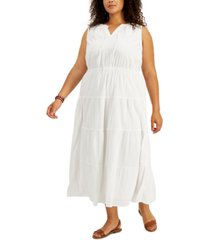 style & co plus size tiered cotton maxi dress, created for macy's