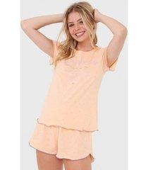 short-doll cor com amor vitaren laranja - laranja - feminino - algodã£o - dafiti