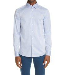 men's ermenegildo zegna premium cotton button-up shirt, size x-large - blue