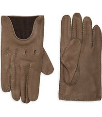partially ribbed leather gloves