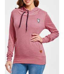 embroidered drawstring pocket design hoodie