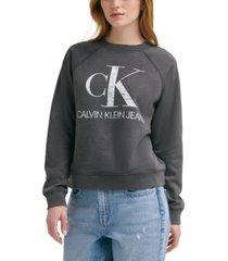 calvin klein jeans distressed logo sweatshirt