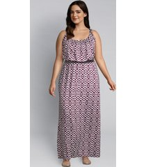 lane bryant women's geometric maxi dress 10/12 purple geo