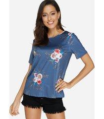 blusa azul con cuello redondo y estampado floral al azar