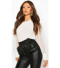 sheer sleeve soft blouse, white