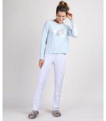 pijama feminino a dama e o vagabundo manga longa azul claro