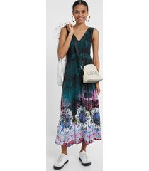 long dress tie-dye mandalas - green - xl