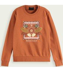 scotch & soda geborduurde sweater van een mix met biologisch katoen