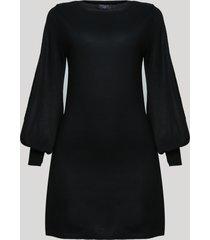 vestido de tricô feminino manga longa bufante preto