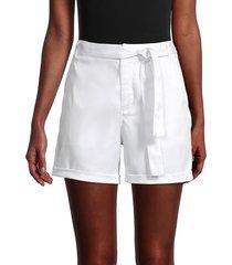 saks fifth avenue women's tie-waist chino shorts - white - size 12