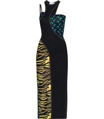 marine serre cutout amphibian and moon print dress - black