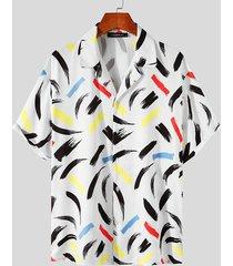 incerun camisa de fiesta de playa bohemia con estampado integral para hombre