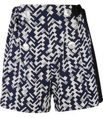 prada double-breast printed shorts
