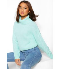 cable knit sleeve roll neck sweater, mint