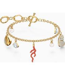 braccialetto shell coral, rosso, placcato color oro