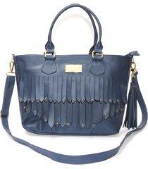 bolso borlas blos azul oscuro