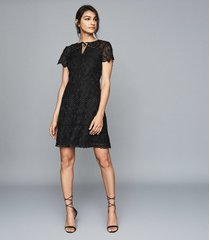 reiss czara - lace midi dress in black, womens, size 12